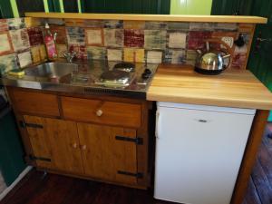 Smolův mlýn - Smolův mlýn - kuchyňská linka s vařičem, ledničkou a varnou konvicí