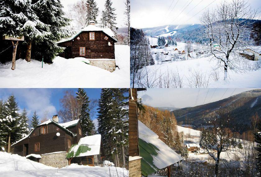 Horská chata Kouty zimní koláž