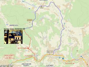 Horská chata Barbora - Mapka přístupových cest