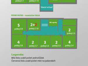 Horská chata Barbora - Plánek pokojů patro, více na našem webu