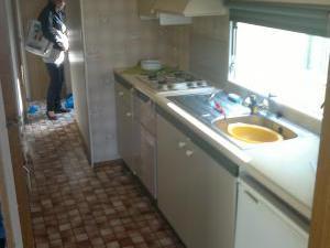 Mobilheim dlouhý - kuchyň